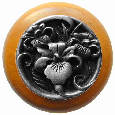"""NHW-728M-AP River Iris Wood Knob in Antique Pewter/Maple wood finish 1-1/2"""" Dia 1-1/8"""" Proj Nouveau Collection by Notting Hill"""