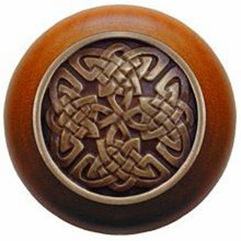 "NHW-757C-AB Celtic Isles Wood Knob in Antique Brass/Cherry wood finish 1-1/2"" Dia 1-1/8"" Proj Nouveau Collection by Notting Hill"