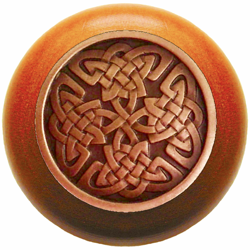 "NHW-757C-AC Celtic Isles Wood Knob in Antique Copper/Cherry wood finish 1-1/2"" Dia 1-1/8"" Proj Nouveau Collection by Notting Hill"