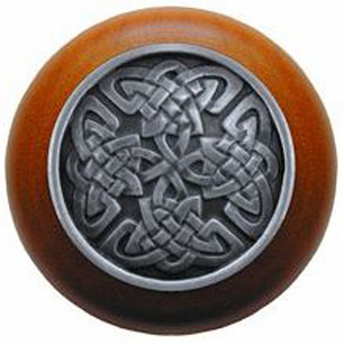 """NHW-757C-AP Celtic Isles Wood Knob in Antique Pewter/Cherry wood finish 1-1/2"""" Dia 1-1/8"""" Proj Nouveau Collection by Notting Hill"""