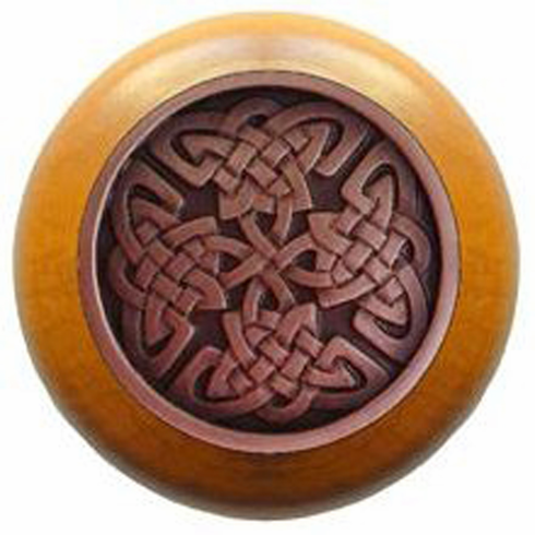 """NHW-757M-AC Celtic Isles Wood Knob in Antique Copper/Maple wood finish 1-1/2"""" Dia 1-1/8"""" Proj Nouveau Collection by Notting Hill"""