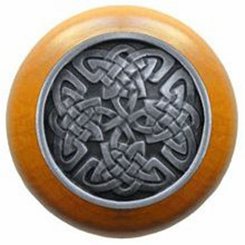 """NHW-757M-AP Celtic Isles Wood Knob in Antique Pewter/Maple wood finish 1-1/2"""" Dia 1-1/8"""" Proj Nouveau Collection by Notting Hill"""