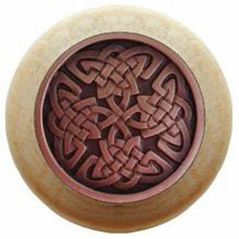 """NHW-757N-AC Celtic Isles Wood Knob in Antique Copper/Natural wood finish 1-1/2"""" Dia 1-1/8"""" Proj Nouveau Collection by Notting Hill"""