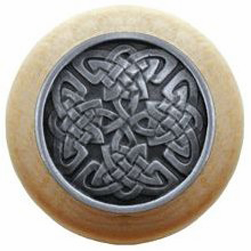 """NHW-757N-AP Celtic Isles Wood Knob in Antique Pewter/Natural wood finish 1-1/2"""" Dia 1-1/8"""" Proj Nouveau Collection by Notting Hill"""