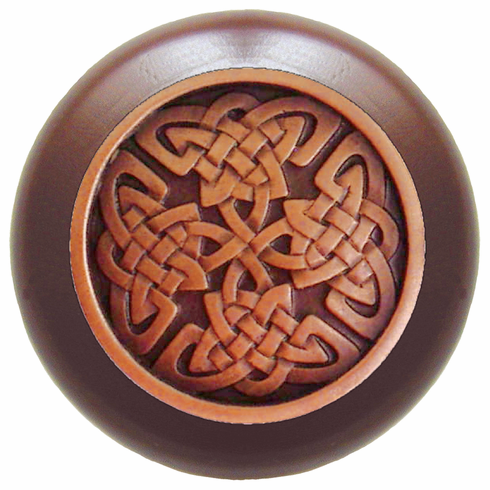 "NHW-757W-AC Celtic Isles Wood Knob in Antique Copper/Dark Walnut wood finish 1-1/2"" Dia 1-1/8"" Proj Nouveau Collection by Notting Hill"