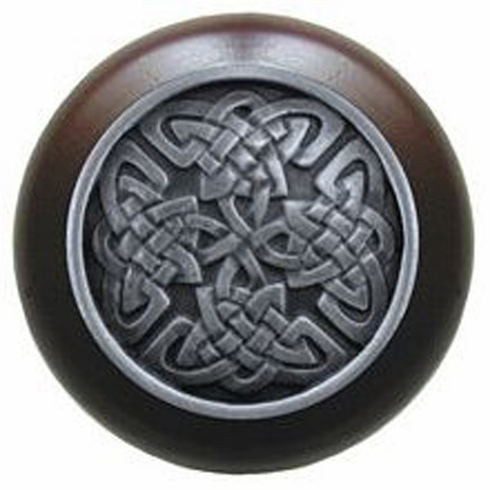 """NHW-757W-AP Celtic Isles Wood Knob in Antique Pewter/Dark Walnut wood finish 1-1/2"""" Dia 1-1/8"""" Proj Nouveau Collection by Notting Hill"""