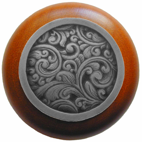 "NHW-759C-AP Saddleworth Wood Knob in Antique Pewter/Cherry wood finish 1-1/2"" Dia 1-1/8"" Proj Classic Collection by Notting Hill"