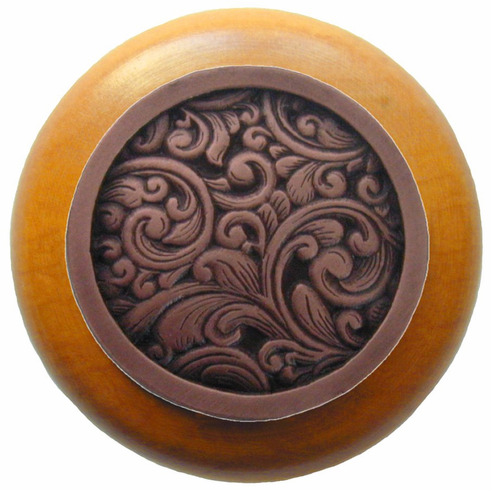 """NHW-759M-AC Saddleworth Wood Knob in Antique Copper/Maple wood finish 1-1/2"""" Dia 1-1/8"""" Proj Classic Collection by Notting Hill"""