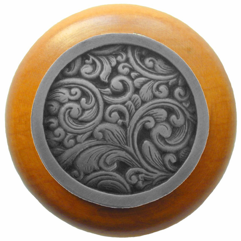 """NHW-759M-AP Saddleworth Wood Knob in Antique Pewter/Maple wood finish 1-1/2"""" Dia 1-1/8"""" Proj Classic Collection by Notting Hill"""