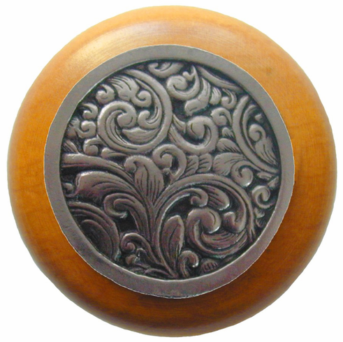 "NHW-759M-BN Saddleworth Wood Knob in Brite Nickel/Maple wood finish 1-1/2"" Dia 1-1/8"" Proj Classic Collection by Notting Hill"