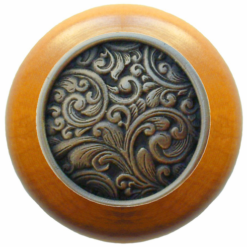 """NHW-759M-BZ Saddleworth Wood Knob in Antique Solid Bronze/Maple wood finish 1-1/2"""" Dia 1-1/8"""" Proj Classic Collection by Notting Hill"""