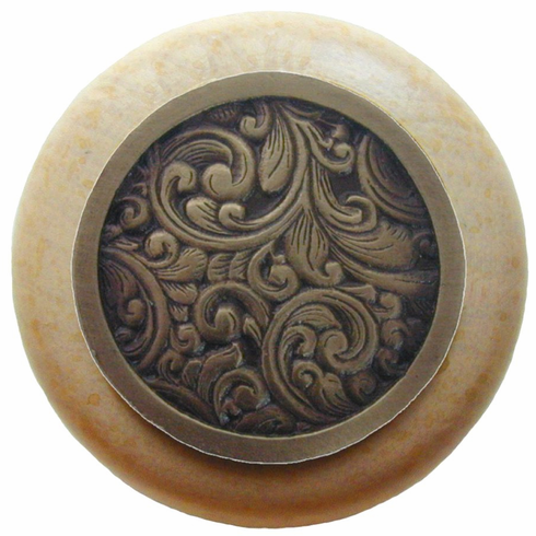 """NHW-759N-AB Saddleworth Wood Knob in Antique Brass/Natural wood finish 1-1/2"""" Dia 1-1/8"""" Proj Classic Collection by Notting Hill"""