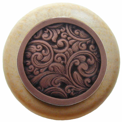 """NHW-759N-AC Saddleworth Wood Knob in Antique Copper/Natural wood finish 1-1/2"""" Dia 1-1/8"""" Proj Classic Collection by Notting Hill"""