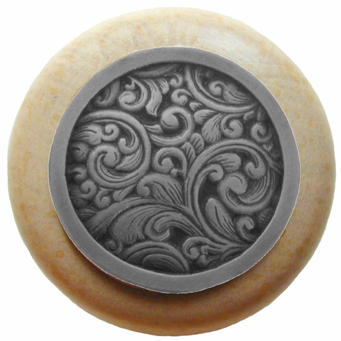 """NHW-759N-AP Saddleworth Wood Knob in Antique Pewter/Natural wood finish 1-1/2"""" Dia 1-1/8"""" Proj Classic Collection by Notting Hill"""