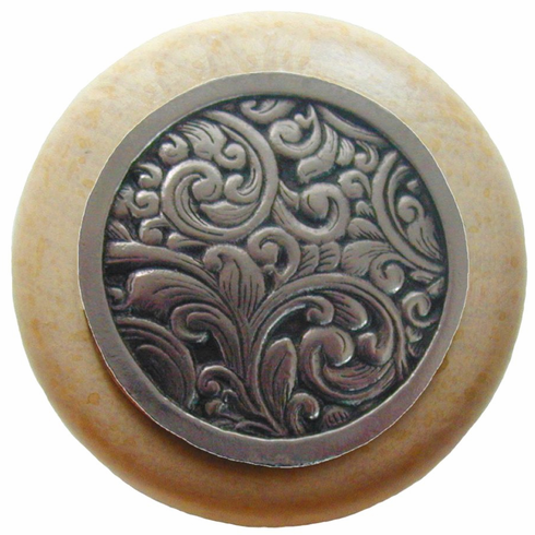 """NHW-759N-BN Saddleworth Wood Knob in Brite Nickel/Natural wood finish 1-1/2"""" Dia 1-1/8"""" Proj Classic Collection by Notting Hill"""