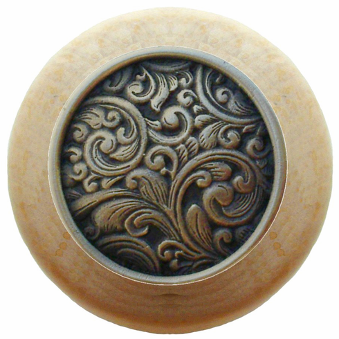 """NHW-759N-BZ Saddleworth Wood Knob in Antique Solid Bronze/Natural wood finish 1-1/2"""" Dia 1-1/8"""" Proj Classic Collection by Notting Hill"""