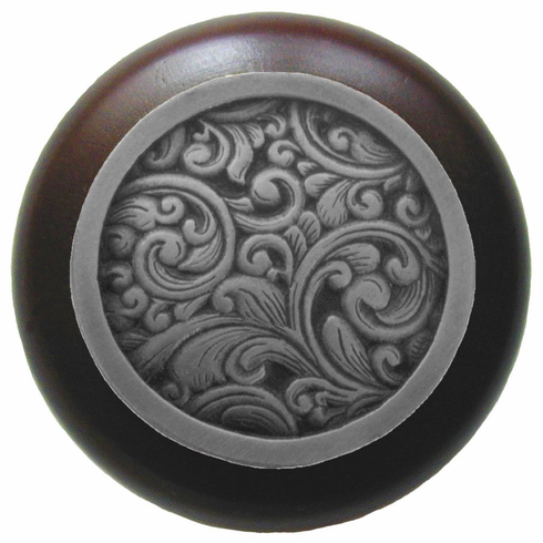 "NHW-759W-AP Saddleworth Wood Knob in Antique Pewter/Dark Walnut wood finish 1-1/2"" Dia 1-1/8"" Proj Classic Collection by Notting Hill"