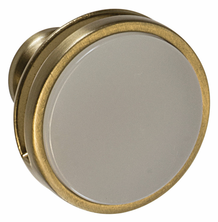 "Hafele 133.50.100 Knob, Amerock Oberon, zinc / acrylic, golden champagne / frosted, 200ZN73, 8-32, diameter 35mm, includes 1"" screw (each)"
