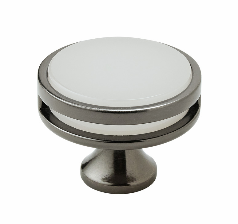 "Hafele 133.50.103 Knob, Amerock Oberon, zinc / acrylic, gunmetal / frosted, 201ZN73, 8-32, diameter 44mm, includes 1"" screw (each)"