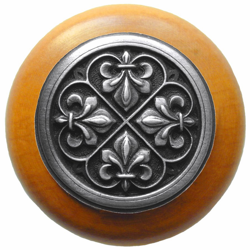 "NHW-760M-AP Fleur-de-Lis Wood Knob in Antique Pewter/Maple wood finish 1-1/2"" Dia 1-1/8"" Proj Chateau Collection by Notting Hill"