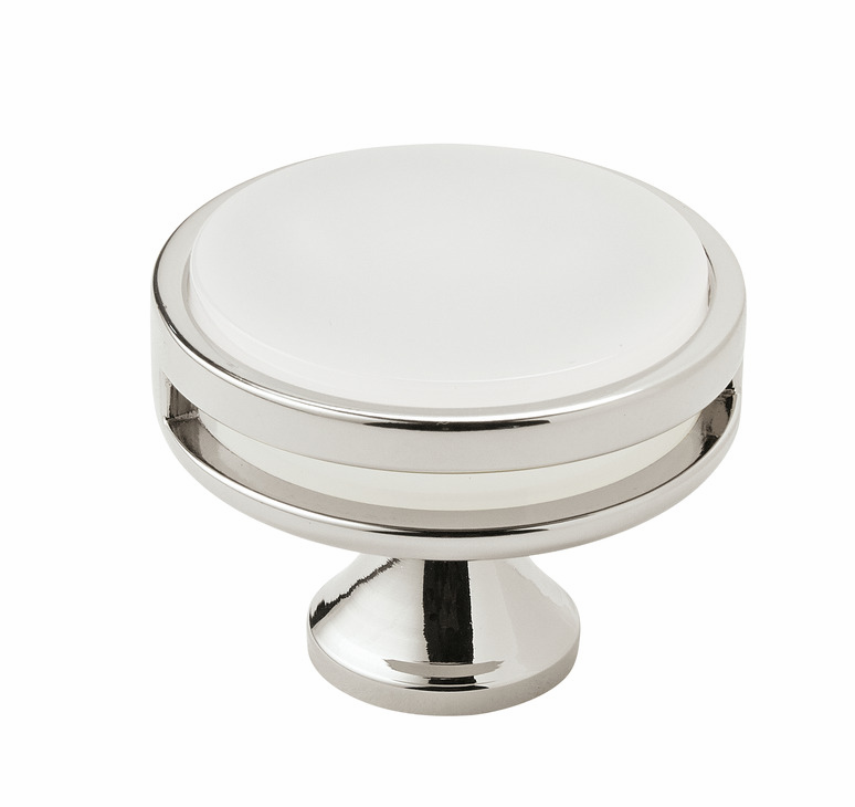 "Hafele 133.50.105 Knob, Amerock Oberon, zinc / acrylic, polished nickel / frosted, 203ZN73, 8-32, diameter 44mm, includes 1"" screw (each)"