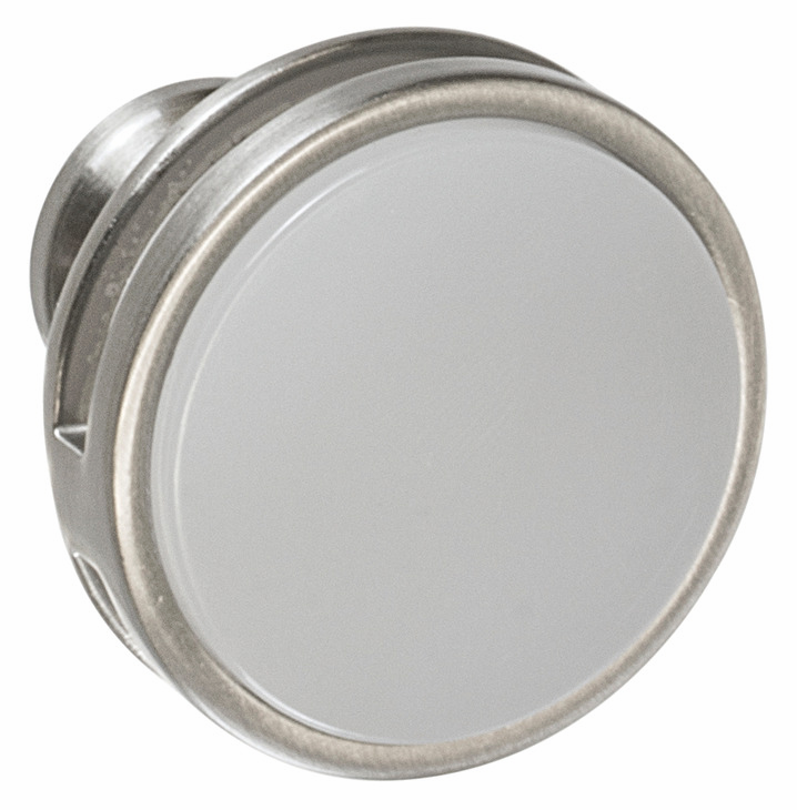 "Hafele 133.50.106 Knob, Amerock Oberon, zinc / acrylic, satin nickel / frosted, 207ZN73, 8-32, diameter 35mm, includes 1"" screw (each)"