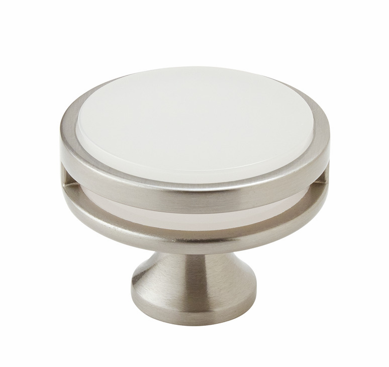 "Hafele 133.50.107 Knob, Amerock Oberon, zinc / acrylic, satin nickel / frosted, 207ZN73, 8-32, diameter 44mm, includes 1"" screw (each)"