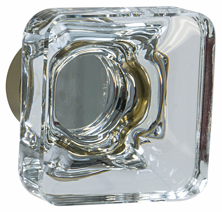 "Hafele 133.50.111 Knob, Amerock Glacio, aluminum / synthetic crystal, golden champagne / clear, 194AL73, 8-32, 35 x 35mm, includes 1"" screw (each)"