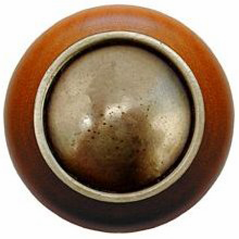 """NHW-761C-AB Plain Dome Wood Knob in Antique Brass/Cherry wood finish 1-1/2"""" Dia 1-1/8"""" Proj Classic Collection by Notting Hill"""