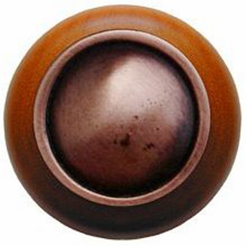 "NHW-761C-AC Plain Dome Wood Knob in Antique Copper/Cherry wood finish 1-1/2"" Dia 1-1/8"" Proj Classic Collection by Notting Hill"