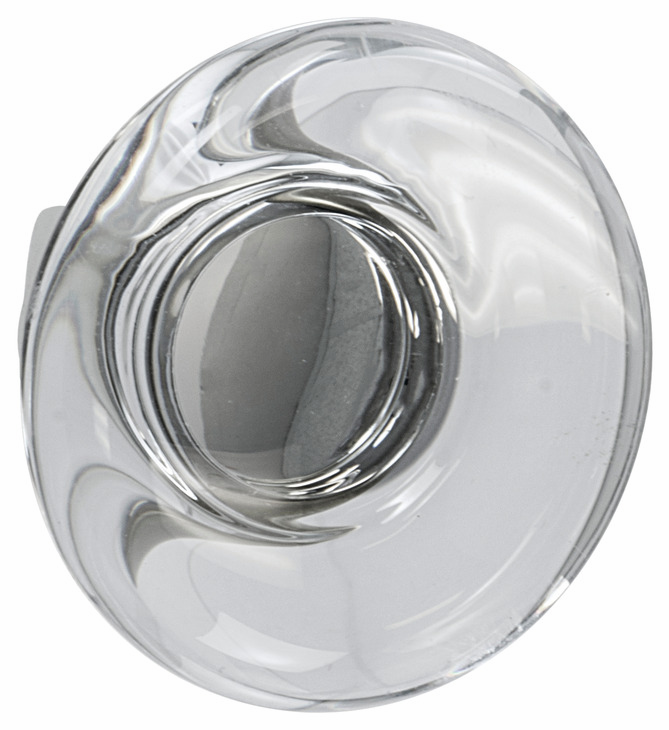 "Hafele 133.50.113 Knob, Amerock Glacio, aluminum / synthetic crystal, golden champagne / clear, 194AL73, 8-32, diameter 44mm, includes 1"" screw (each)"