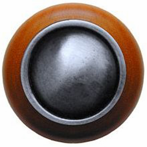"NHW-761C-AP Plain Dome Wood Knob in Antique Pewter/Cherry wood finish 1-1/2"" Dia 1-1/8"" Proj Classic Collection by Notting Hill"
