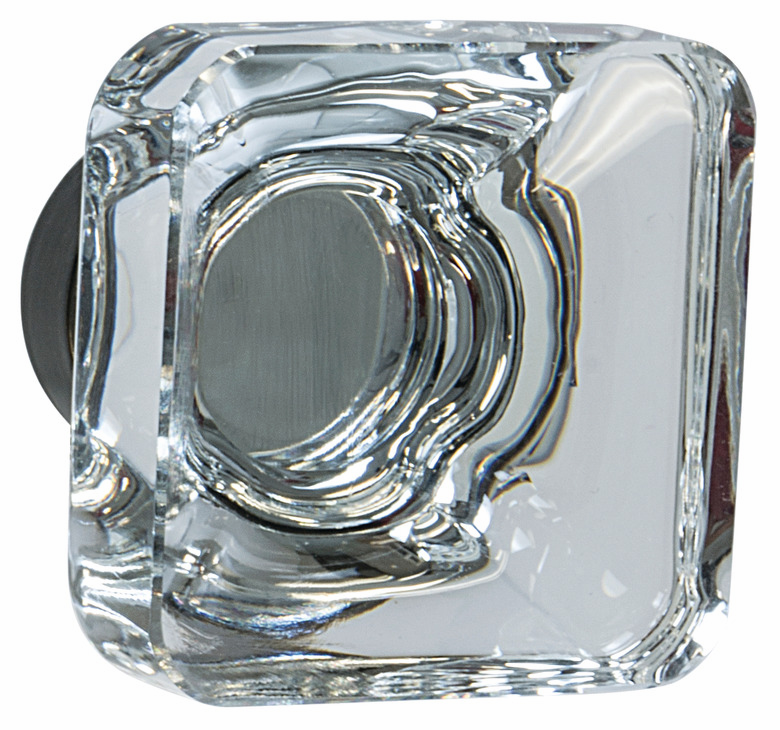 "Hafele 133.50.114 Knob, Amerock Glacio, aluminum / synthetic crystal, golden champagne / clear, 195AL73, 8-32, 35 x 35mm, includes 1"" screw (each)"