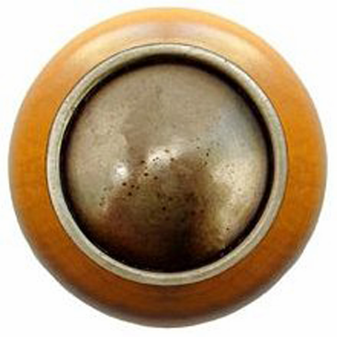 """NHW-761M-AB Plain Dome Wood Knob in Antique Brass/Maple wood finish 1-1/2"""" Dia 1-1/8"""" Proj Classic Collection by Notting Hill"""