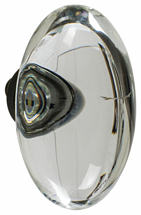 "Hafele 133.50.115 Knob, Amerock Glacio, aluminum / synthetic crystal, golden champagne / clear, 195AL73, 8-32, 44 x 25mm, includes 1"" screw (each)"