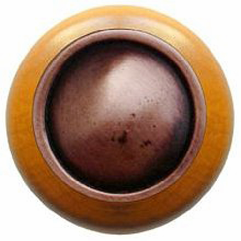 """NHW-761M-AC Plain Dome Wood Knob in Antique Copper/Maple wood finish 1-1/2"""" Dia 1-1/8"""" Proj Classic Collection by Notting Hill"""
