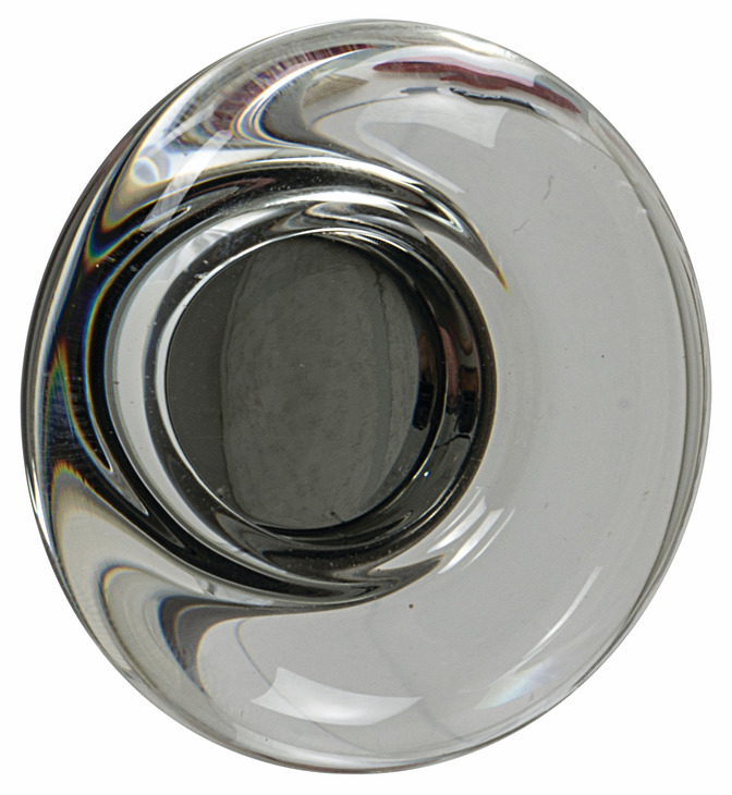 "Hafele 133.50.116 Knob, Amerock Glacio, aluminum / synthetic crystal, golden champagne / clear, 195AL73, 8-32, diameter 44mm, includes 1"" screw (each)"