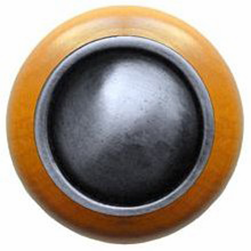 """NHW-761M-AP Plain Dome Wood Knob in Antique Pewter/Maple wood finish 1-1/2"""" Dia 1-1/8"""" Proj Classic Collection by Notting Hill"""