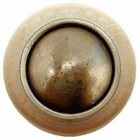 "NHW-761N-AB Plain Dome Wood Knob in Antique Brass/Natural wood finish 1-1/2"" Dia 1-1/8"" Proj Classic Collection by Notting Hill"