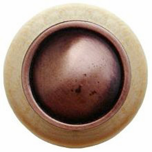 """NHW-761N-AC Plain Dome Wood Knob in Antique Copper/Natural wood finish 1-1/2"""" Dia 1-1/8"""" Proj Classic Collection by Notting Hill"""