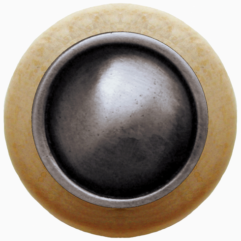 "NHW-761N-AP Plain Dome Wood Knob in Antique Pewter/Natural wood finish 1-1/2"" Dia 1-1/8"" Proj Classic Collection by Notting Hill"