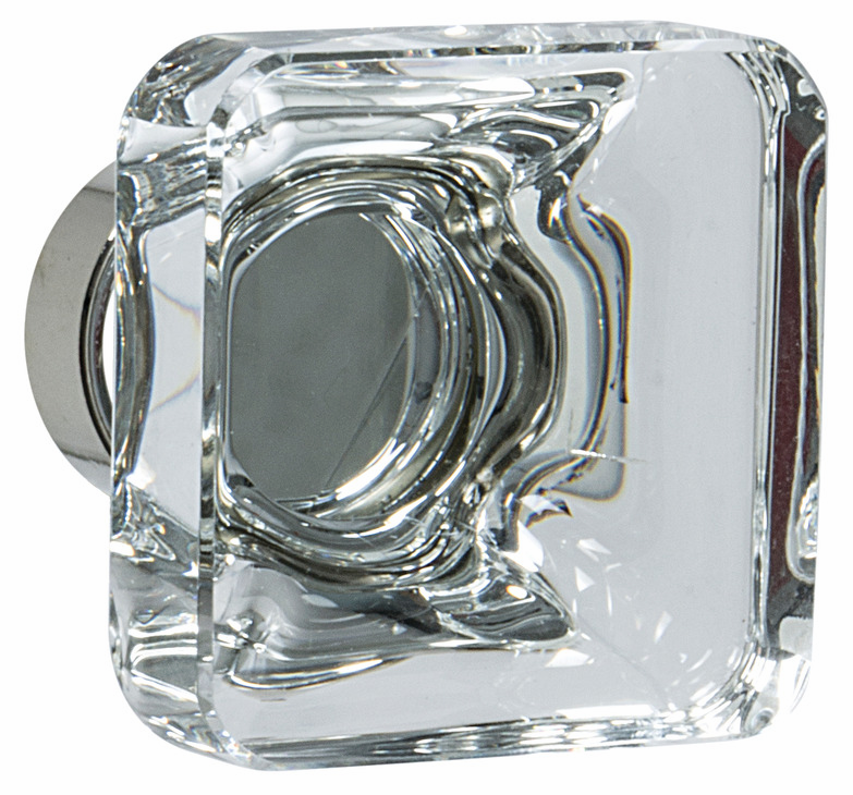 "Hafele 133.50.120 Knob, Amerock Glacio, aluminum / synthetic crystal, polished nickel / clear, 197AL73, 8-32, 35 x 35mm, includes 1"" screw (each)"