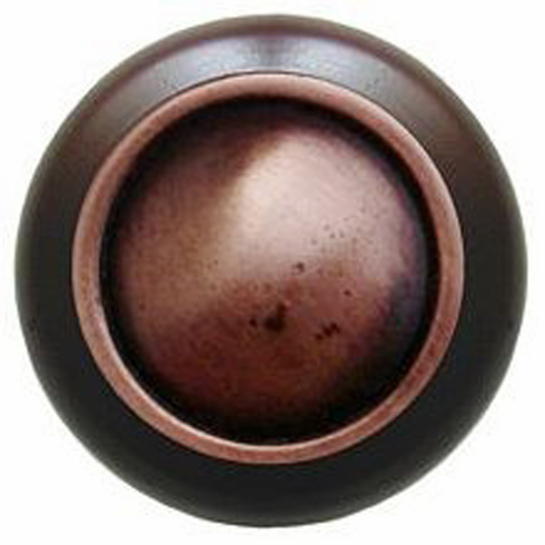 "NHW-761W-AC Plain Dome Wood Knob in Antique Copper/Dark Walnut wood finish 1-1/2"" Dia 1-1/8"" Proj Classic Collection by Notting Hill"