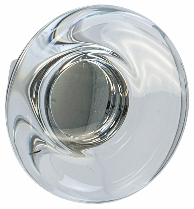 "Hafele 133.50.122 Knob, Amerock Glacio, aluminum / synthetic crystal, polished nickel / clear, 197AL73, 8-32, diameter 44mm, includes 1"" screw (each)"