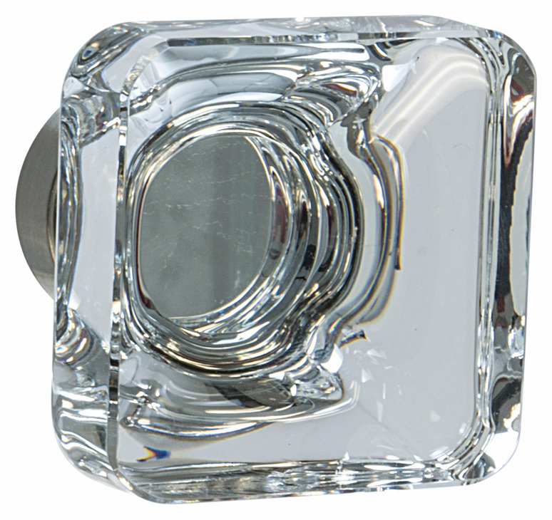 "Hafele 133.50.123 Knob, Amerock Glacio, aluminum / synthetic crystal, satin nickel / clear, 198AL73, 8-32, 35 x 35mm, includes 1"" screw (each)"