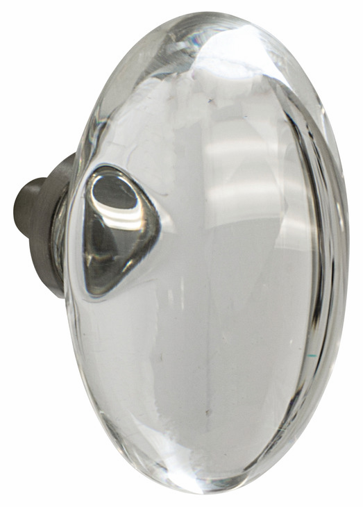 "Hafele 133.50.124 Knob, Amerock Glacio, aluminum / synthetic crystal, satin nickel / clear, 198AL73, 8-32, 44 x 25mm, includes 1"" screw (each)"