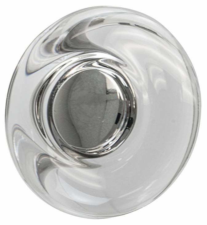 "Hafele 133.50.125 Knob, Amerock Glacio, aluminum / synthetic crystal, satin nickel / clear, 198AL73, 8-32, diameter 44mm, includes 1"" screw (each)"