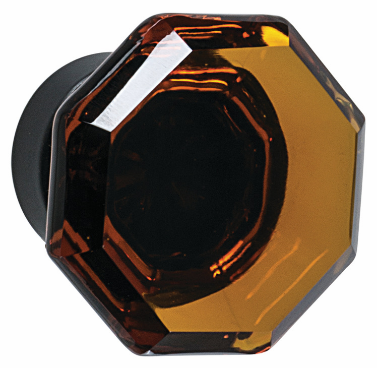 "Hafele 133.50.126 Knob, Amerock Traditional Classics, glass / zinc, amber / black bronze, 188ZN73, 8-32, diameter 33mm, includes 1"" screw (each)"