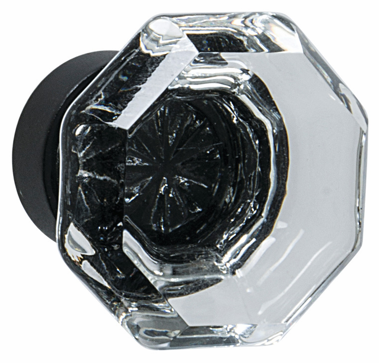"Hafele 133.50.129 Knob, Amerock Traditional Classics, glass / zinc, clear / black bronze, 192ZN73, 8-32, diameter 33mm, includes 1"" screw (each)"