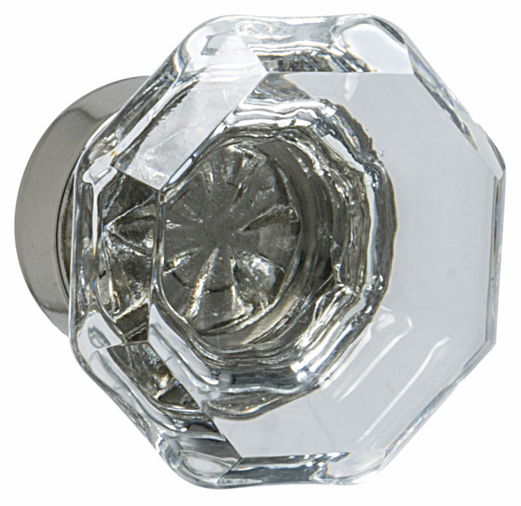 "Hafele 133.50.132 Knob, Amerock Traditional Classics, glass / zinc, clear / polished nickel, 197ZN73, 8-32, diameter 33mm, includes 1"" screw (each)"